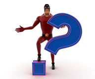 3d kick super hero with purple question mark concept Royalty Free Stock Photography