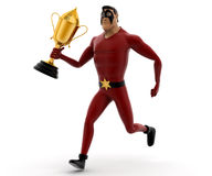 3d kick super hero running with golden cup award concept Stock Images