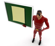 3d kick super hero standing with notice board with sticky note on it concept Stock Photo