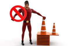 3d kick super hero standing with traffic cones and stop symbol concept Royalty Free Stock Images