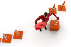 3d kick super hero standing with traffic cones and stop symbol concept Stock Photography