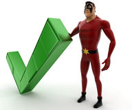 3d kick super man with green right symbol concept Stock Photos