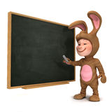 3d Kid in bunny costume at the blackboard Stock Photography