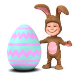 3d Kid in bunny costume with Easter egg Stock Photos