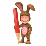 3d Kid in bunny costume holding a pencil Stock Photography