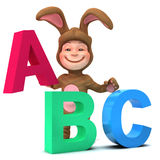 3d Kid in bunny costume learns the alphabet Stock Photography