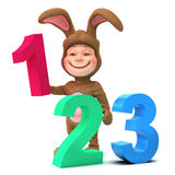 3d Kid in bunny costume learns to count Stock Photography