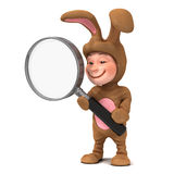 3d Kid in bunny costume with magnifying glass Royalty Free Stock Images