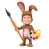3d Kid in bunny costume with paint brush Royalty Free Stock Photo