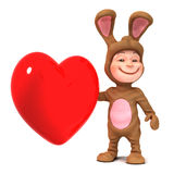 3d Kid in bunny costume with red heart Stock Photography