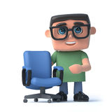 3d Kid in glasses next to an empty office chair Stock Photography