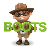 3d Kid hiker boots Stock Photography