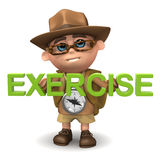 3d Kid hiker exercise Royalty Free Stock Photo