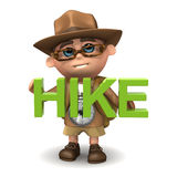 3d Kid hiker hikes Royalty Free Stock Photos