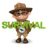 3d Kid hiker survival Royalty Free Stock Photo