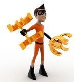 3d kid super hero doing exercise using euro dumbell concept Stock Photography