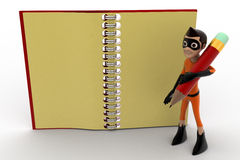 3d kid super hero holding pencil and note book concept Royalty Free Stock Photo