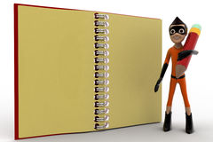 3d kid super hero holding pencil and note book concept Royalty Free Stock Images
