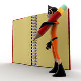 3d kid super hero holding pencil and note book concept Stock Image