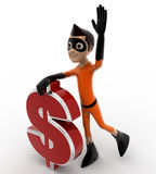 3d kid super hero with red dollar symbol concept Royalty Free Stock Image
