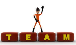 3d kid super hero standing on TEAM cube concept Royalty Free Stock Photography