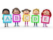 3D kids holding ABC cubes Royalty Free Stock Image