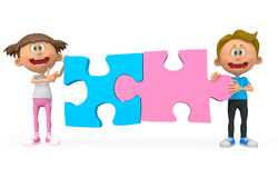 3D kids holding puzzle Stock Image