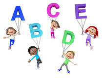 3D kids with letters of the alphabet Royalty Free Stock Photos