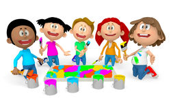 3D kids painting Stock Images