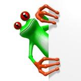 3D kikker - achter een hoek Stock Afbeeldingen