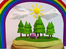 3d kikker binnen een laag-poly groene scène Stock Afbeelding
