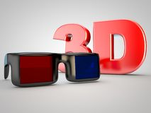 3D Kinfofilm-Film Fernsehen Gläser des Kinos 3D Lizenzfreie Stockbilder