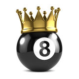 3d King 8 ball wears a gold crown. 3d render of an eight ball wearing a gold crown Royalty Free Stock Photo