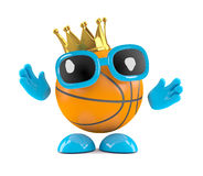 3d king basketball. 3d render of a basketball character wearing a gold crown of success Stock Photography