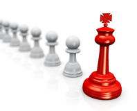 3d king chess leader with followers Stock Photography