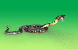 3d King cobra snake attack. On green background Royalty Free Stock Photo