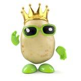 3d King potato. 3d render of a potato wearing a gold crown royalty free illustration