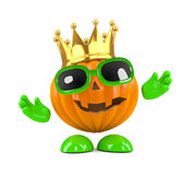 3d King pumpkin Royalty Free Stock Photography