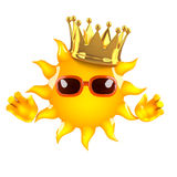 3d King Sun. 3d render of Sun with gold crown Stock Photography