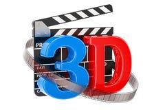3D kinowy pojęcie z filmu clapper deską, 3D rendering Obrazy Stock