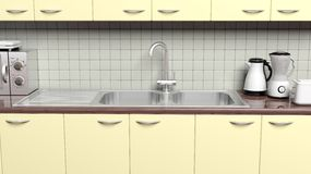3D kitchen cabinet. Closeup with sink, cupboard and appliances Royalty Free Stock Photo