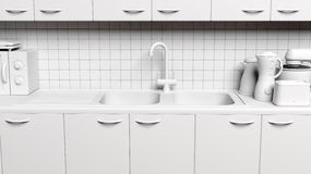 3D kitchen cabinet Stock Photography