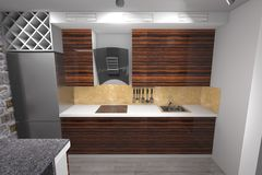 3D kitchen design. 3D house drawing line, exterior design,  3D home, rendering residential, building, caffe, mini park, home interior kitchen design Royalty Free Stock Photography