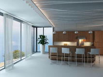 3d Kitchen / Dining Room Interior Stock Images