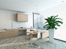 3d Kitchen / Dining Room Interior Stock Image