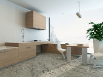 3d Kitchen / Dining Room Interior Royalty Free Stock Image