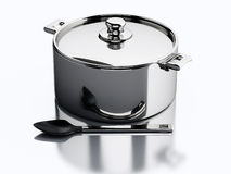 3d Kitchen utensils and metallic pan. Stock Images