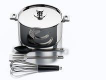 3d Kitchen utensils and metallic pan. Stock Photo