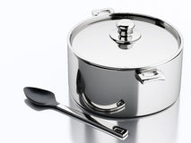 3d Kitchen utensils and metallic pan. Stock Photography
