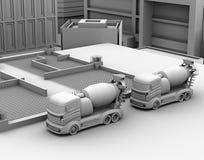 3D klei geeft van concrete mixervrachtwagen terug Stock Afbeelding